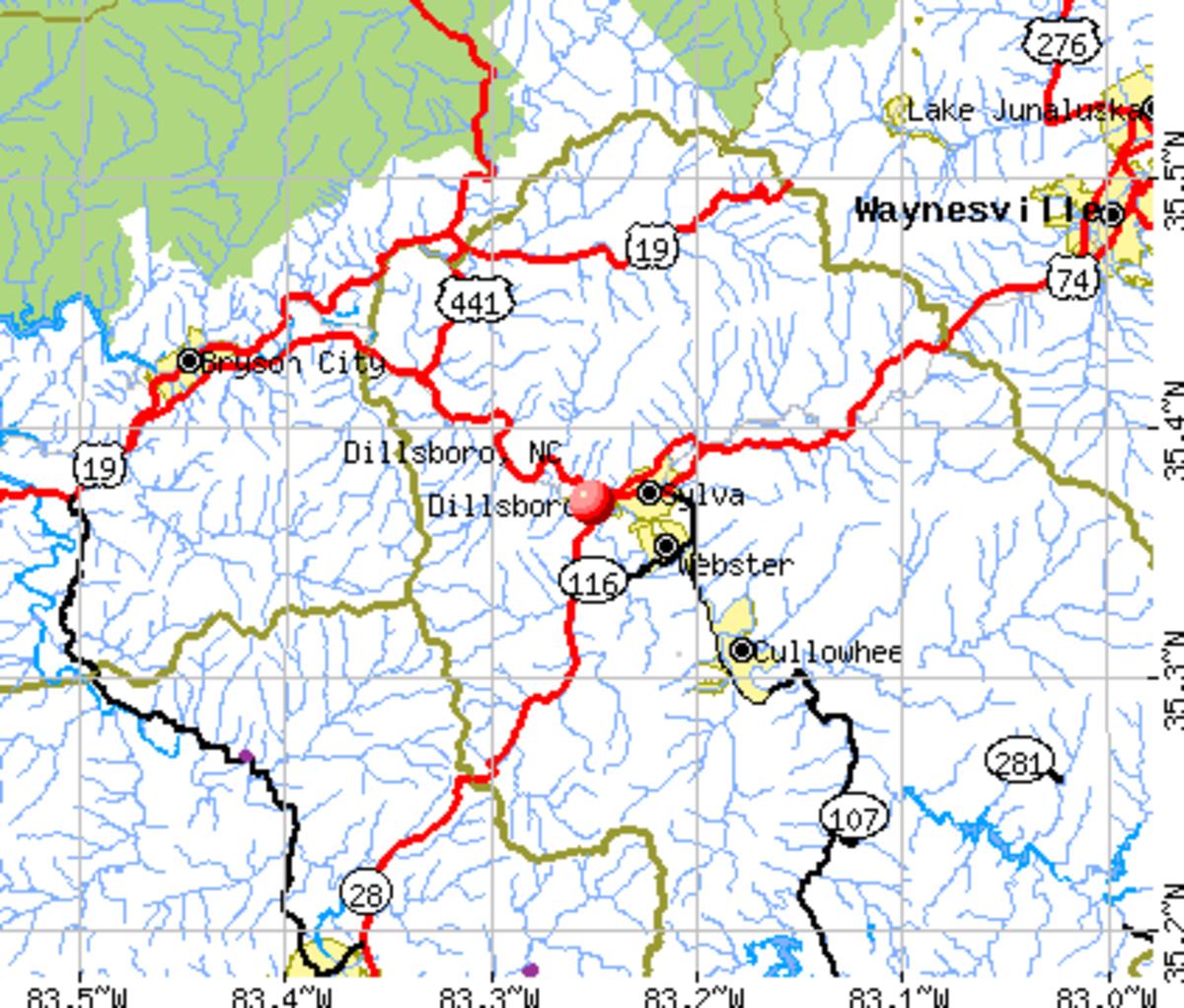 Map Of The Bryson City Dillsboro Area Where The Great Smoky Mountain Railroad Operates