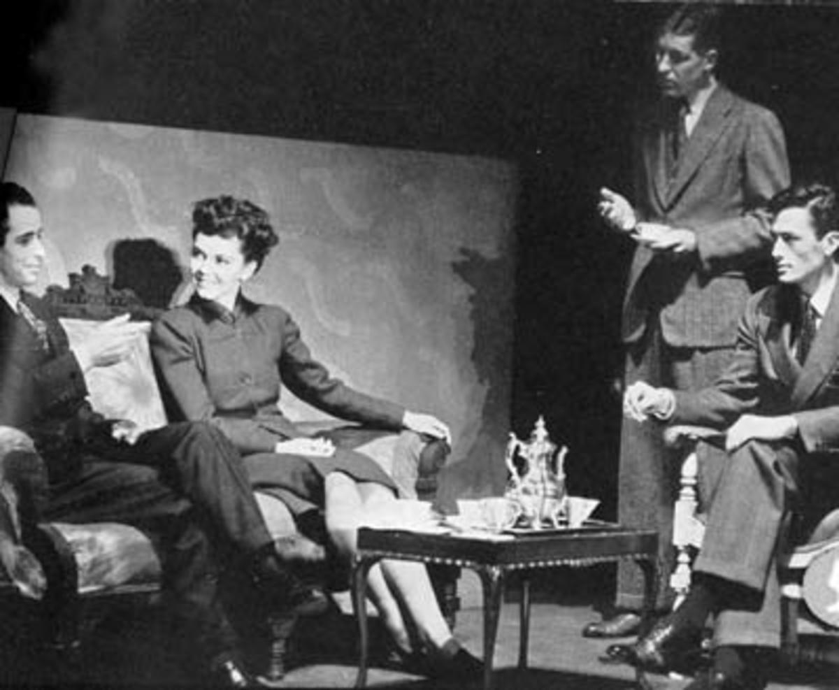 "Peck in a scene from the Berkley Little Theatre presentation  ""Rain from Heaven."""
