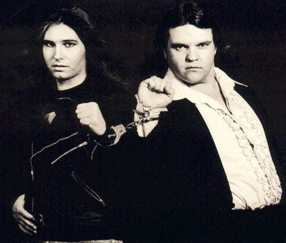 Composer Jim Steinman posing with Meat Loaf