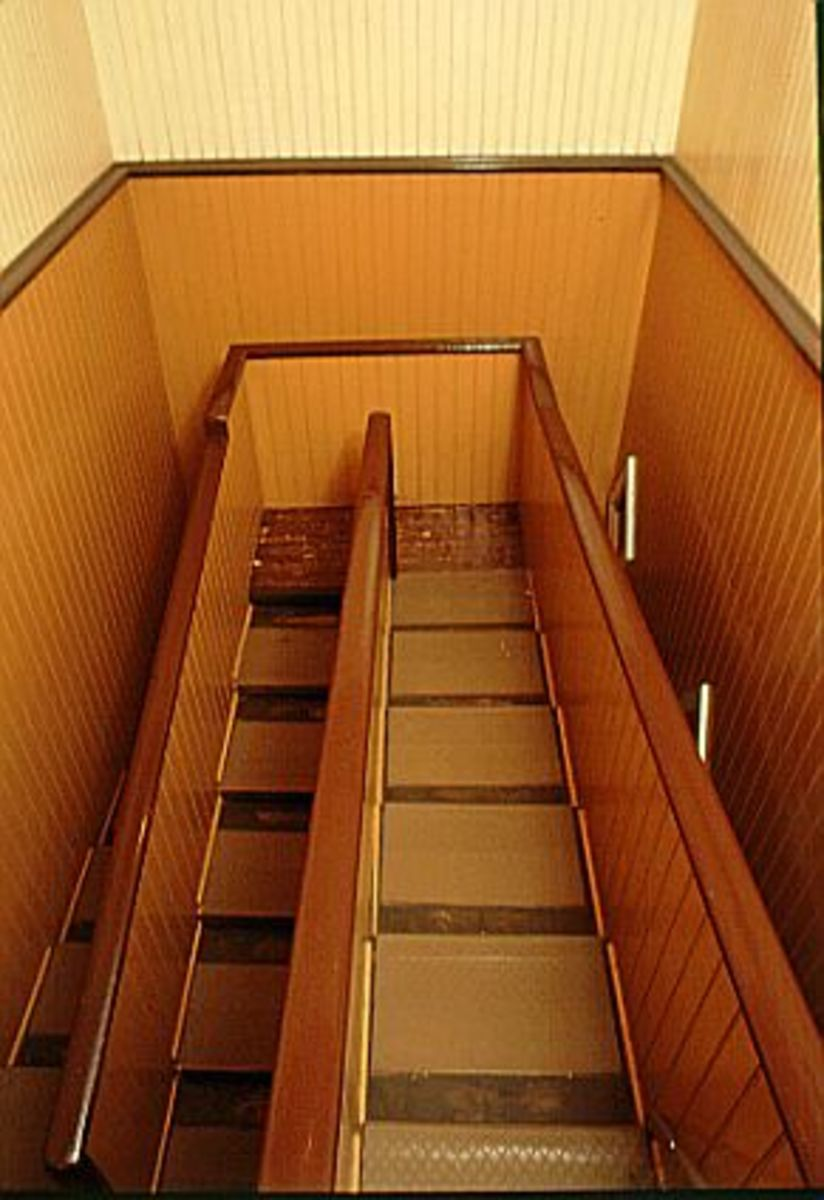 "The 44 steps that make up this stairwell should extend for three stories; instead, because each step is only 2"" high, the staircase only rises 9 feet"