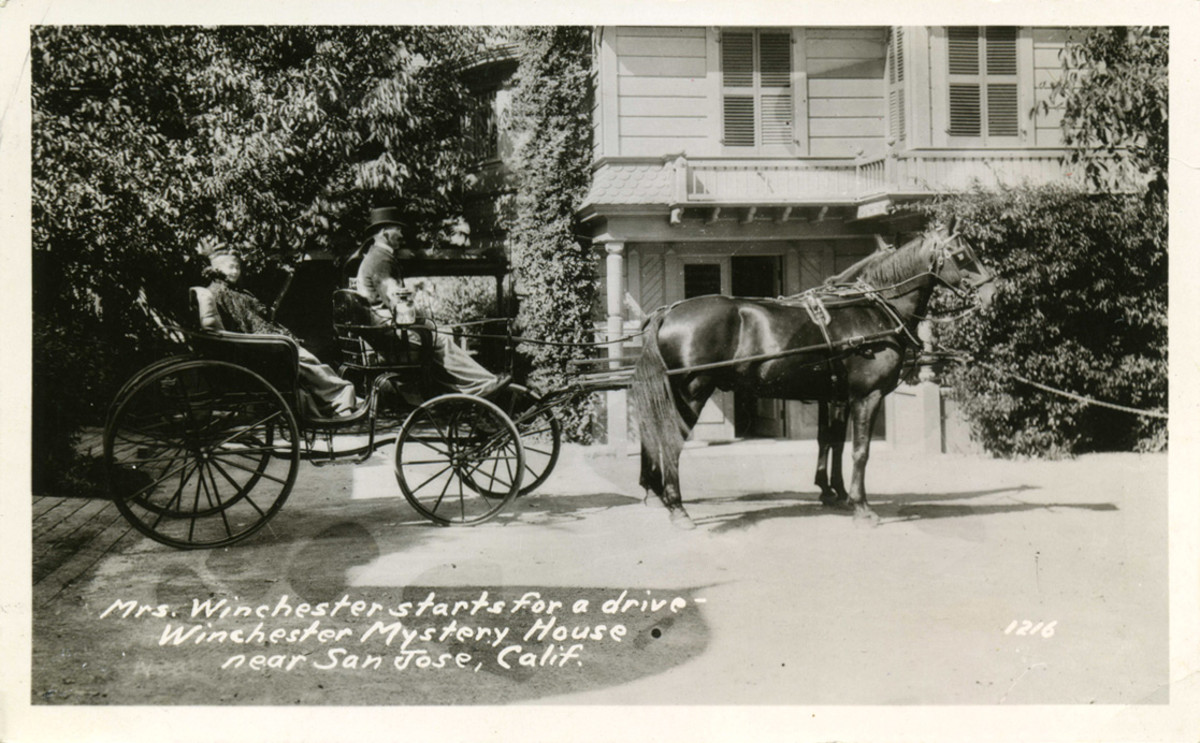Sarah Winchester in later years being pulled by horse-drawn carriage