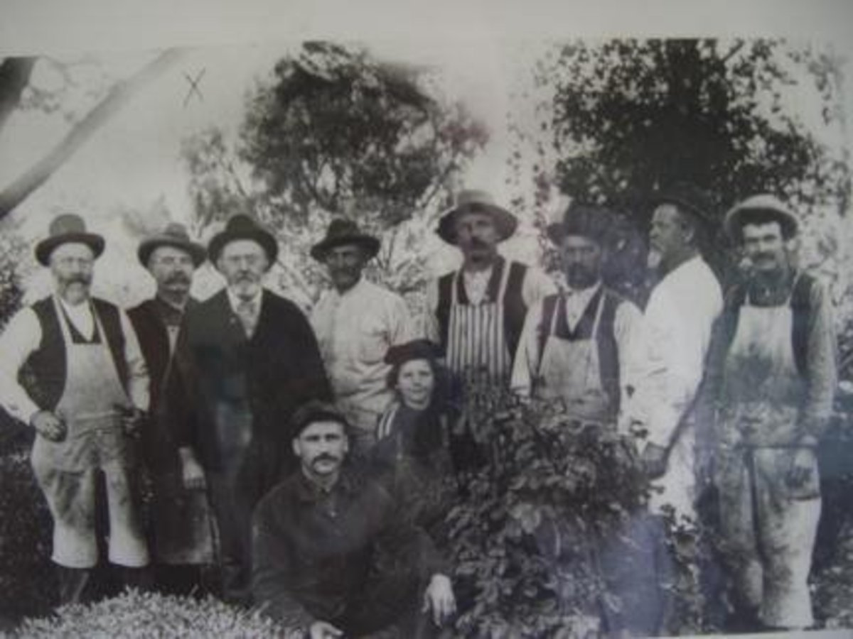 The ghost of the carpenter wearing overalls at the far right has been seen several times at the Winchester Mansion