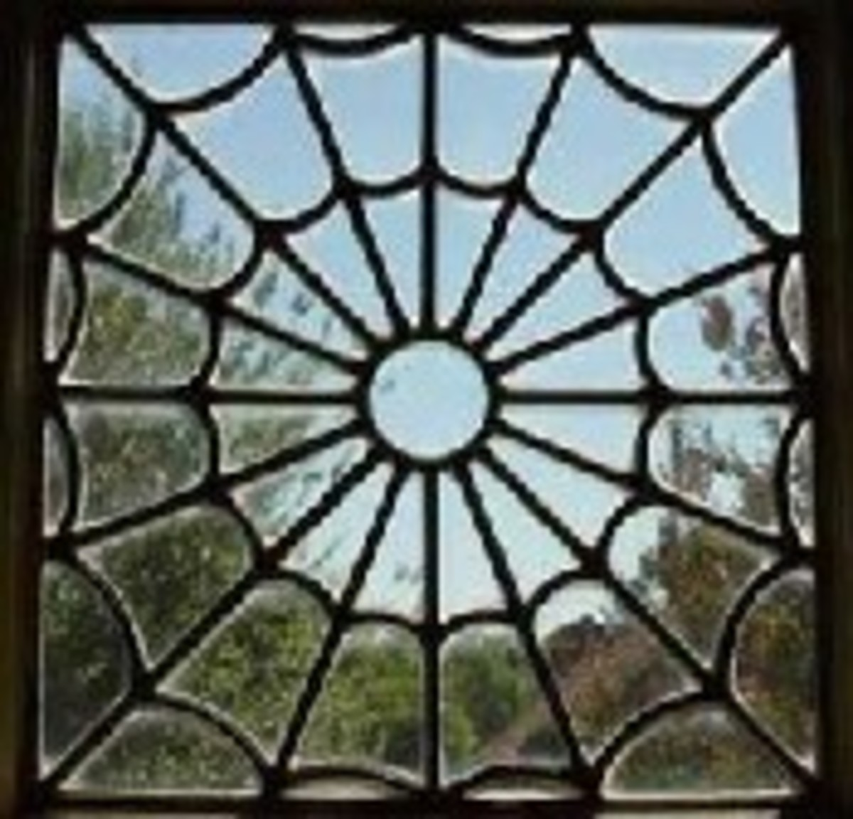 A window containing Sarah's typical spiderweb motif