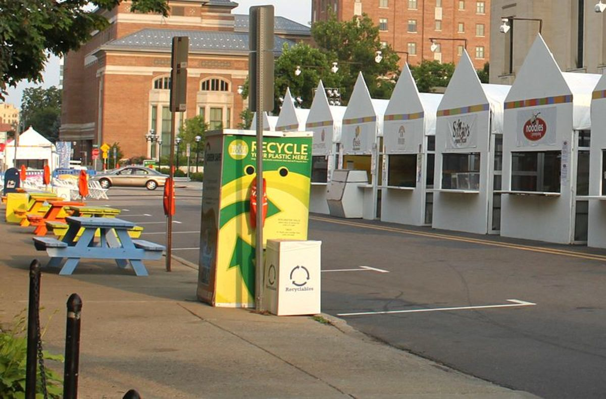 Whole Foods Market plastics recycling bin at the Ann Arbor Summer Arts Festival.