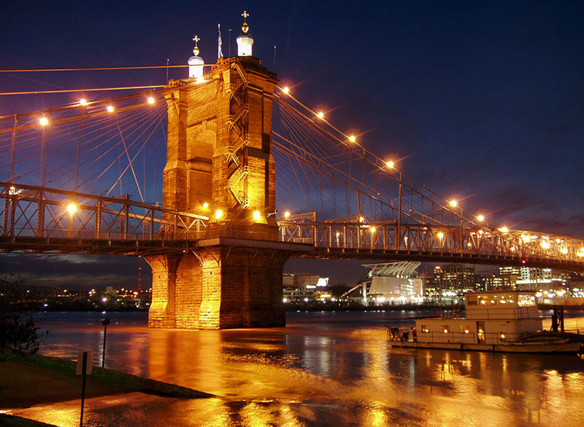 The Roebling Suspension Bridge crossed the Ohio River from Covington KY to Cincinnati OH.