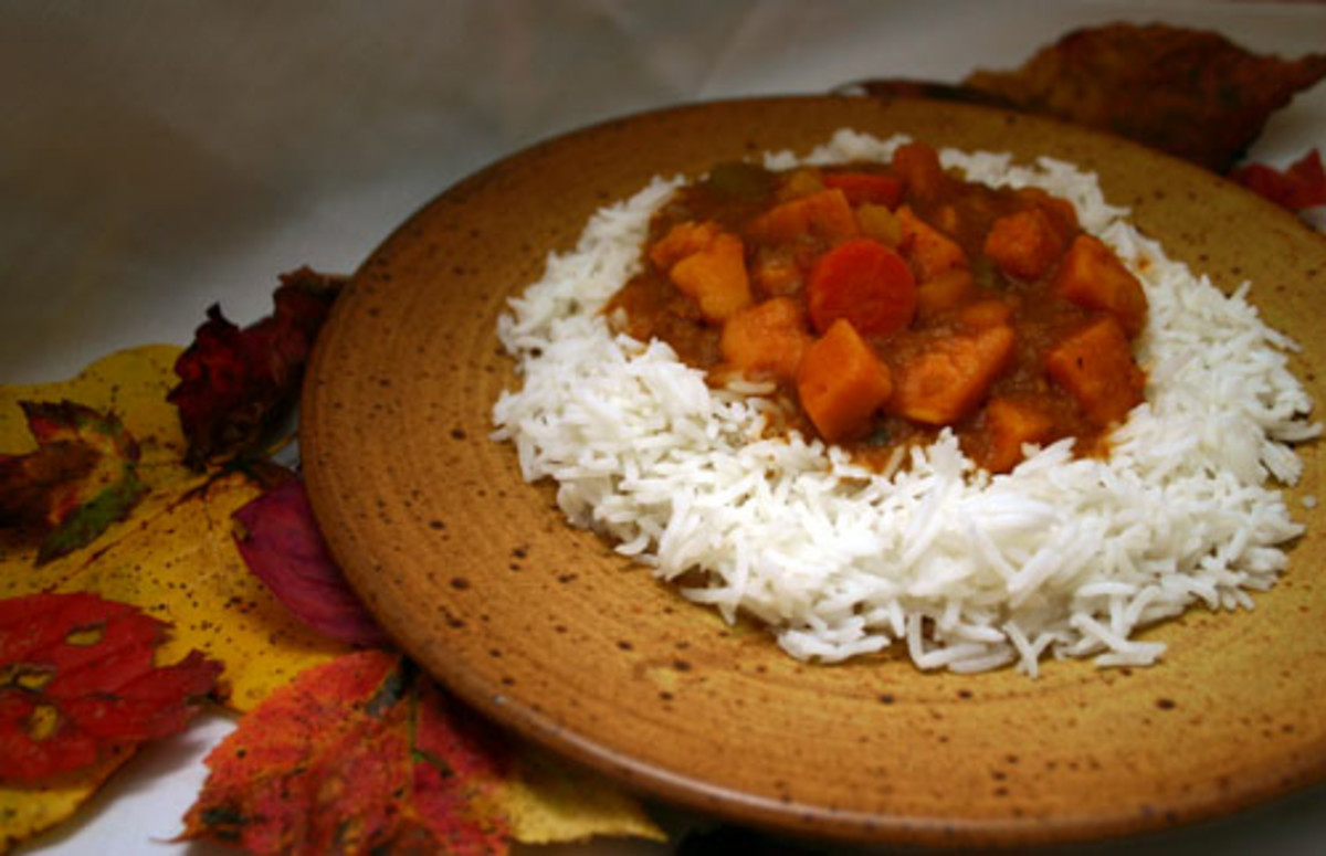 vegetarian autumn stew over rice