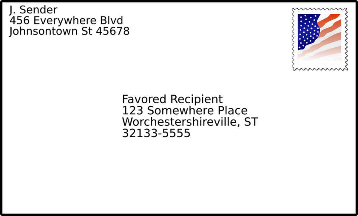 The envelope for cover letters and thank you letters in business.