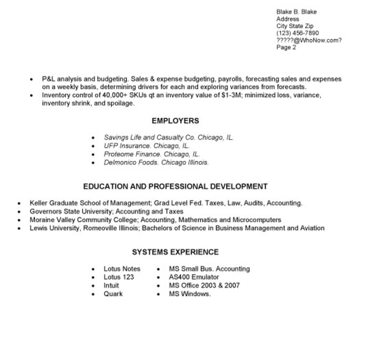 Functional Resume, Page Two