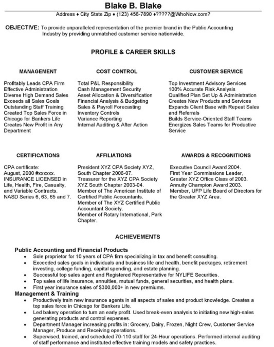 Functional Resume, Page One