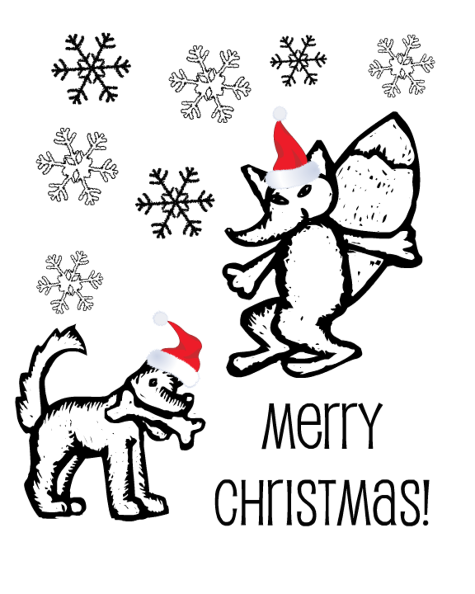 Free Christmas coloring page: fox and dog