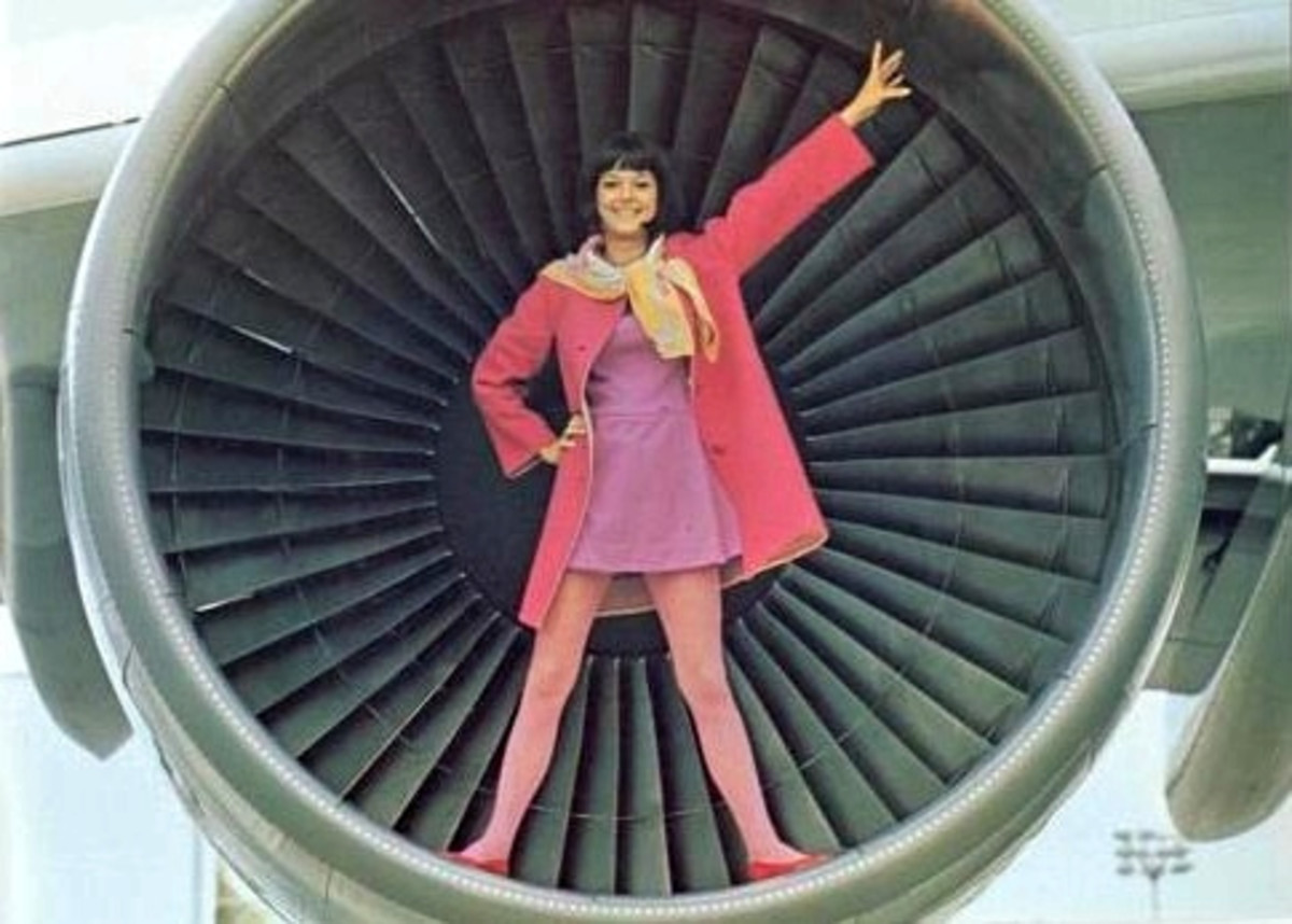 Swinging 60s Hostess in a Jet Engine