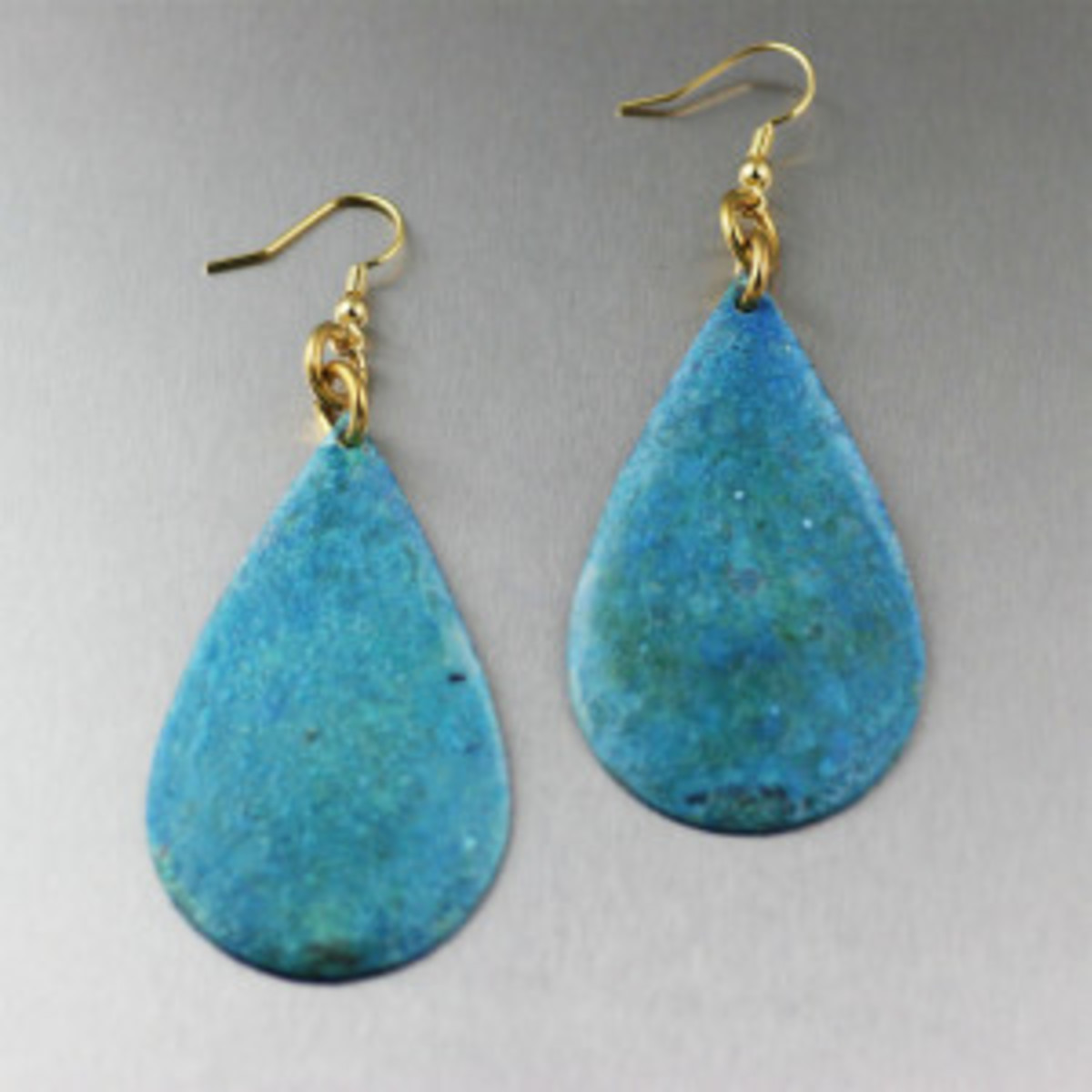 Handmade Blue Patinated Tear Drop Copper Earrings