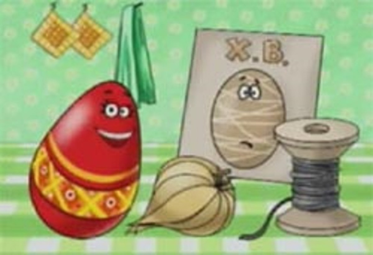 Scene from a Russian advert for a new egg dye to replace onion skins