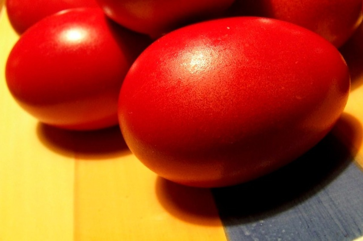 Red eggs are also favored by the Greek Orthodox traditions.