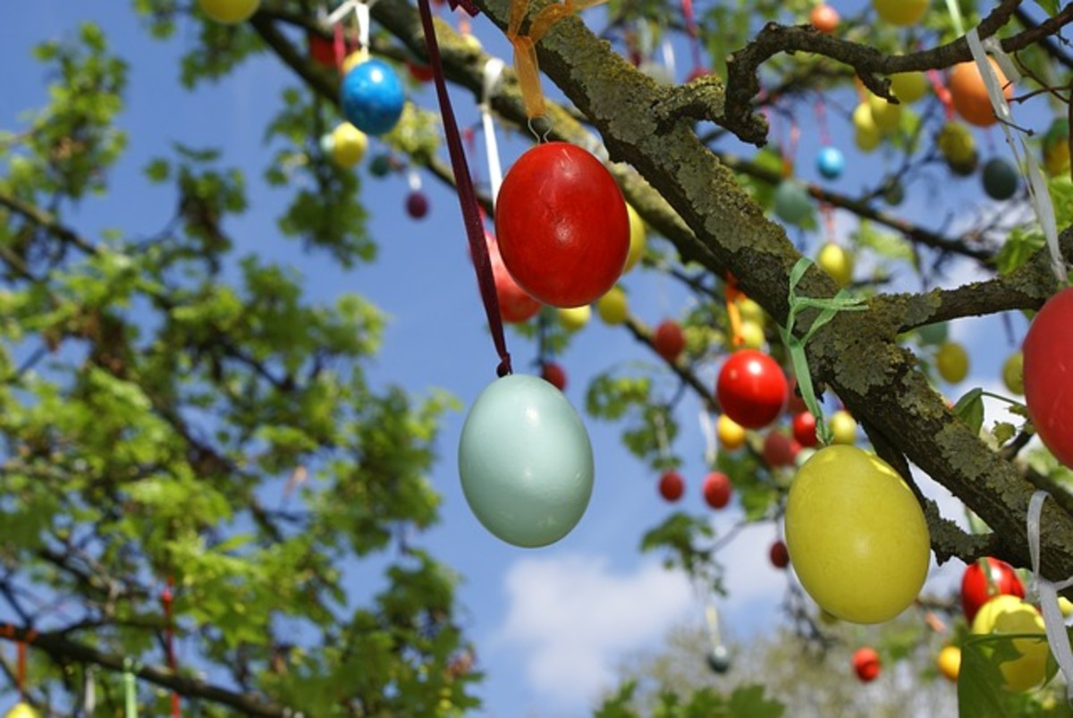 You may see eggs hung in outdoor trees in Russia.
