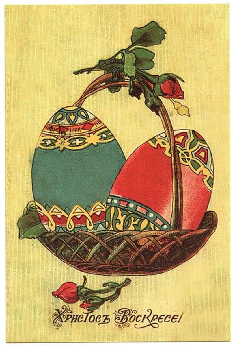 """Christ is risen from the dead!"" -- Card from the historic Russian Empire period before 1917."