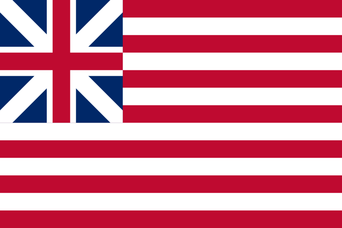 The Grand Union Flag, flag of the United Colonies of North America and the first flag of the USA.