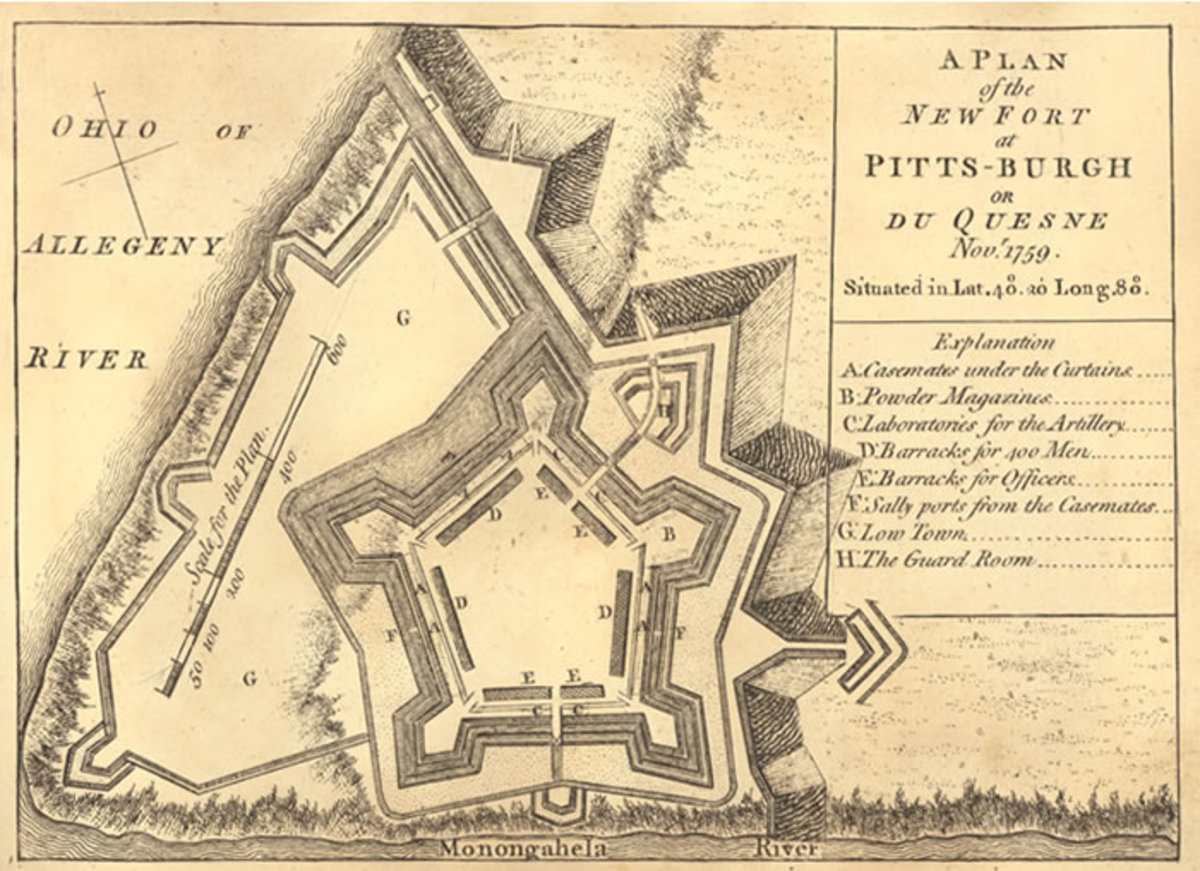 Fort Pitt, built by England in America in 1758 to replace the previous fort that was leveled by British forces.