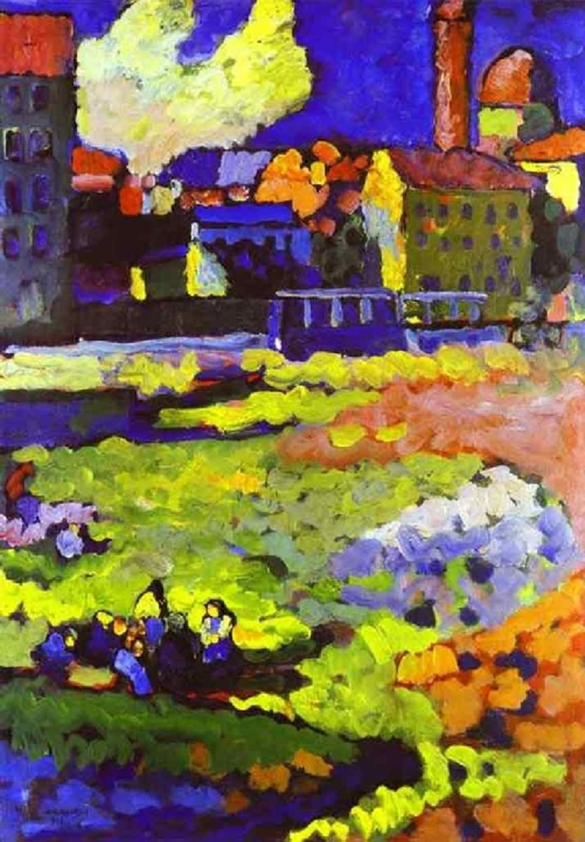 Kandinsky's Munich-Schwabing with the Church of St. Ursula. 1908