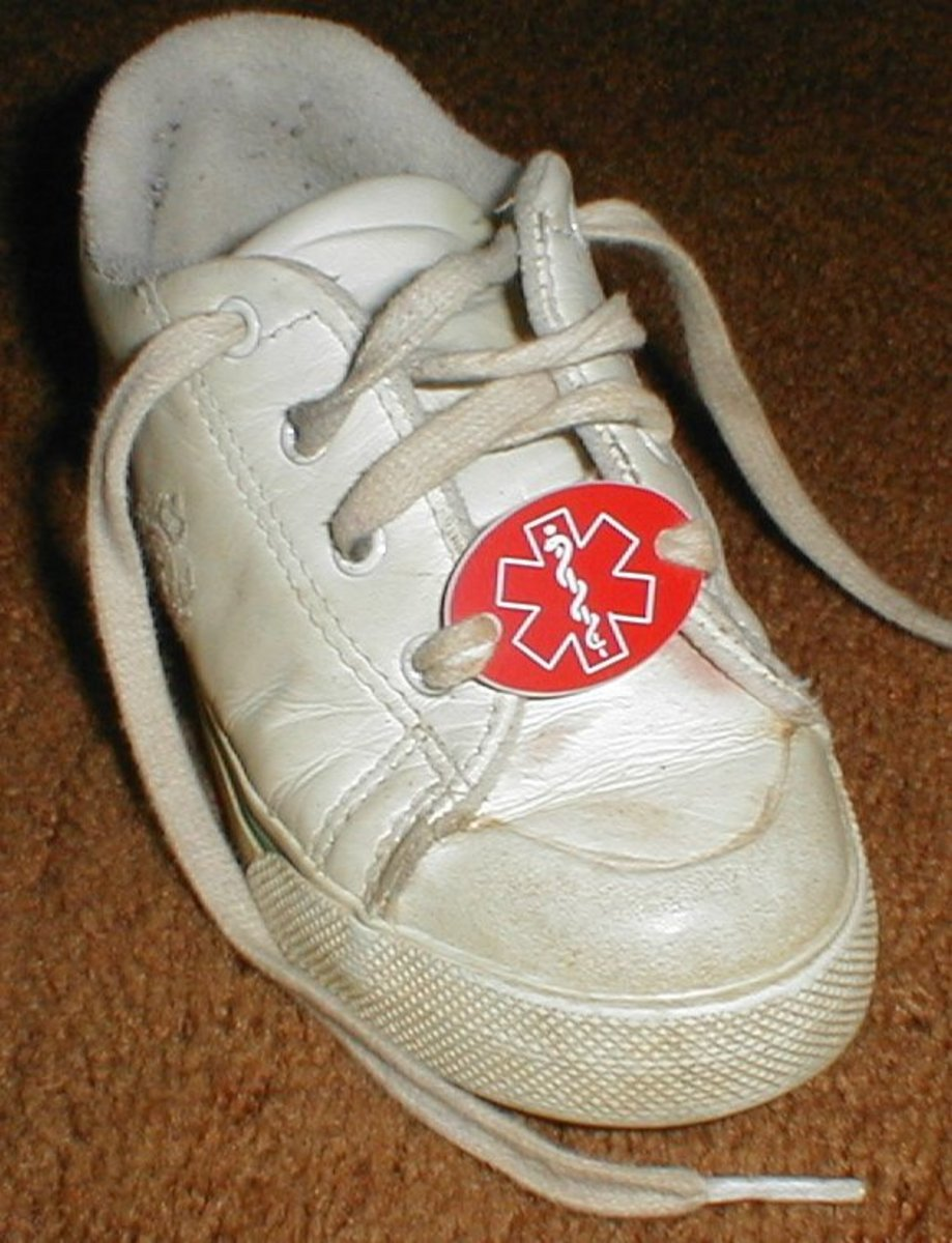 Medical ID Shoe tag - Available at www.lettersnwood.homestead.com