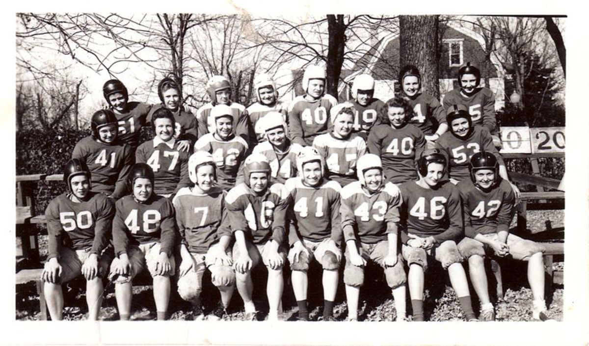 Dakota State University fielded the Madison Women's Football Team - the Lady Leatherheads - this photo, October 20, 1945.