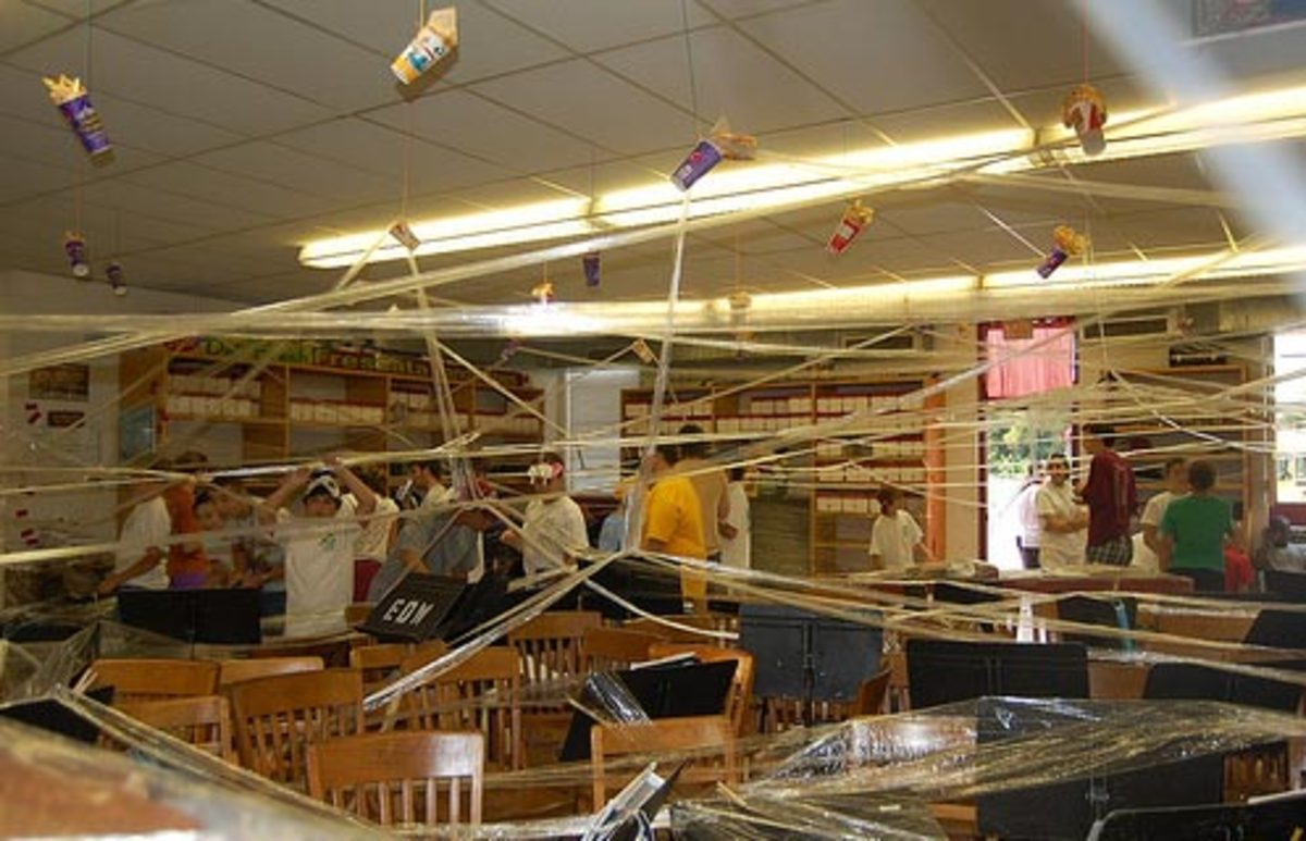 Pick popular teachers and fill their room, so when they come in the next day, they'll be in for a surprise. Try filling a room with saran wrap.