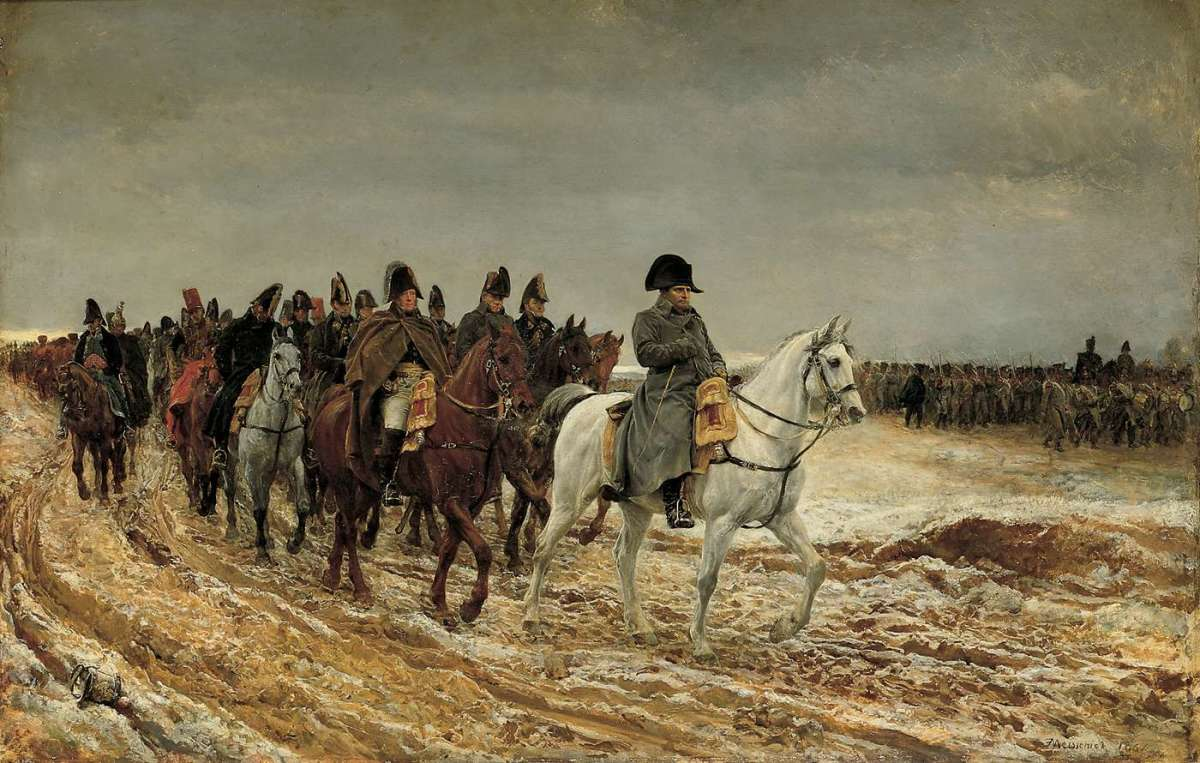 Napoleon leading cavalry