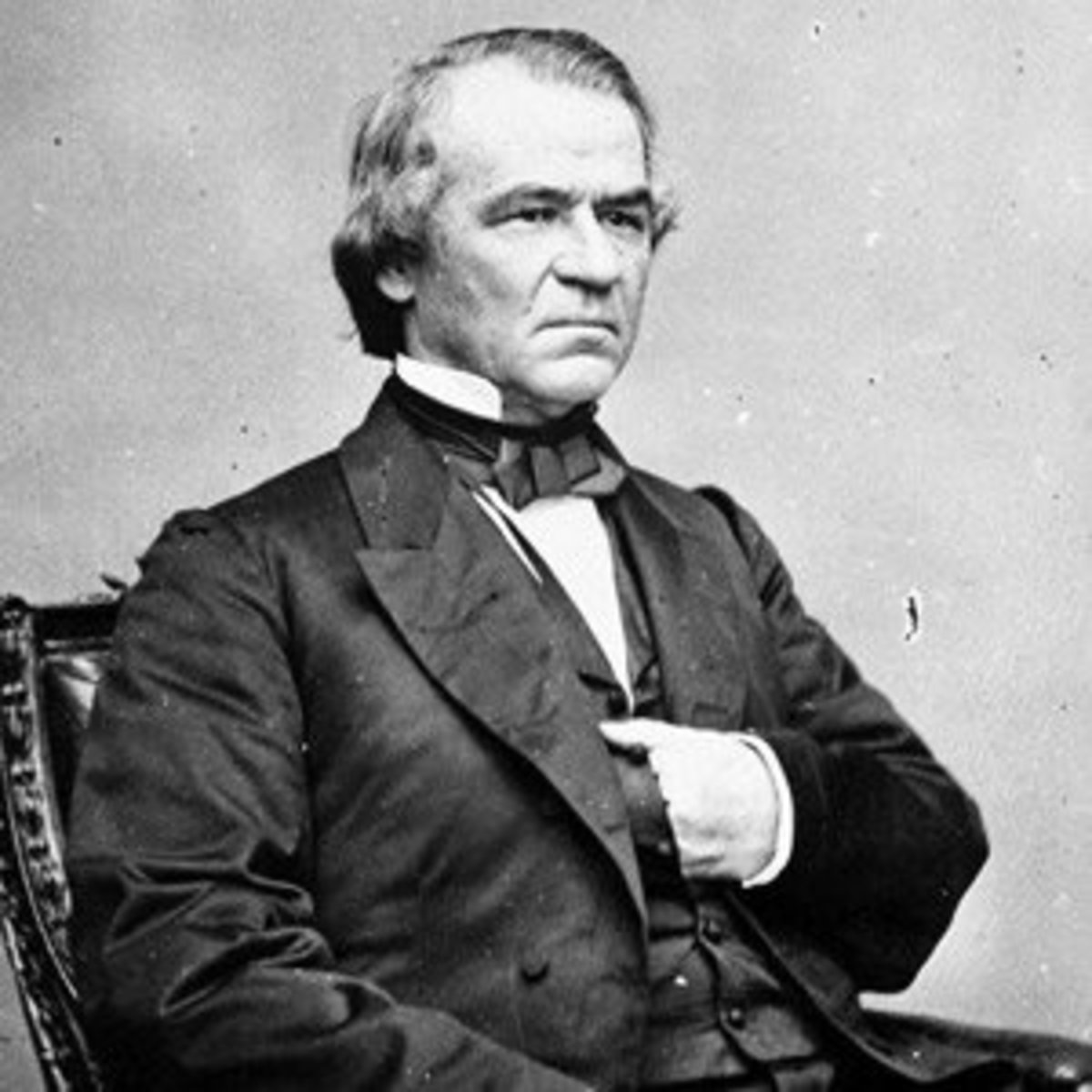 American President Andrew Johnson with hand in vest.
