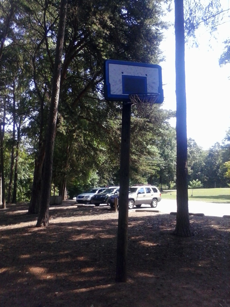 Basketball goal is in the day use area, though there is no asphalt under it, just dirt.