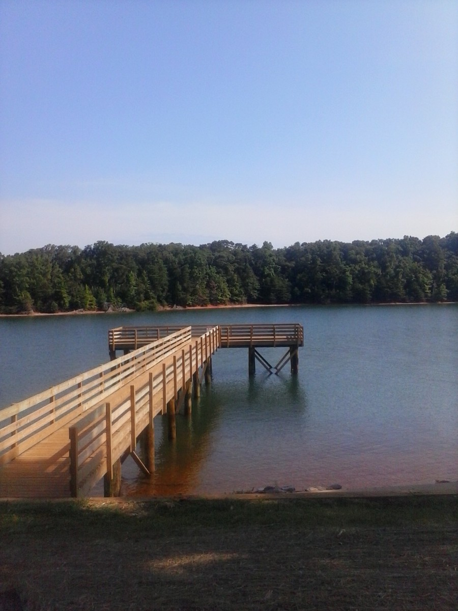 The nice fishing pier at Sadlers Creek State Park.