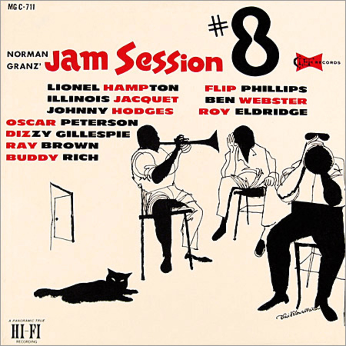 "Various Artists ""Jam Session, vol. 8""  Clef Records 711 12"" LP Vinyl Record (1956) Album Cover Art by David Stone Martin"