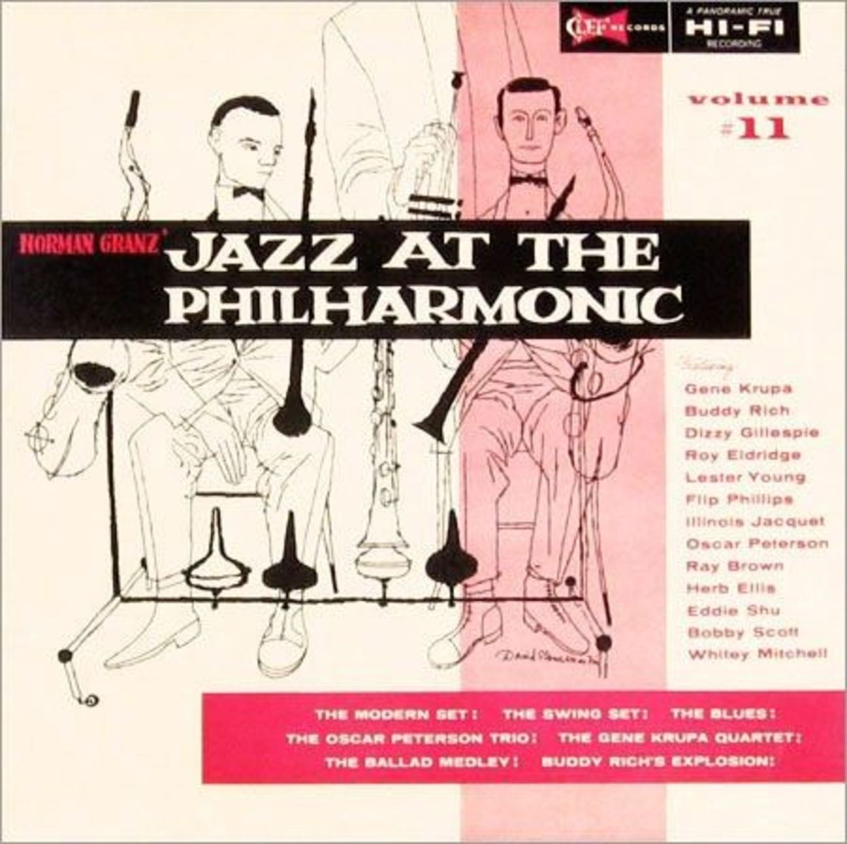 "Jazz At The Philharmonic, vol 11 Clef Records 12"" LP Vinyl Record (1954) Album Cover Art by David Stone Martin"
