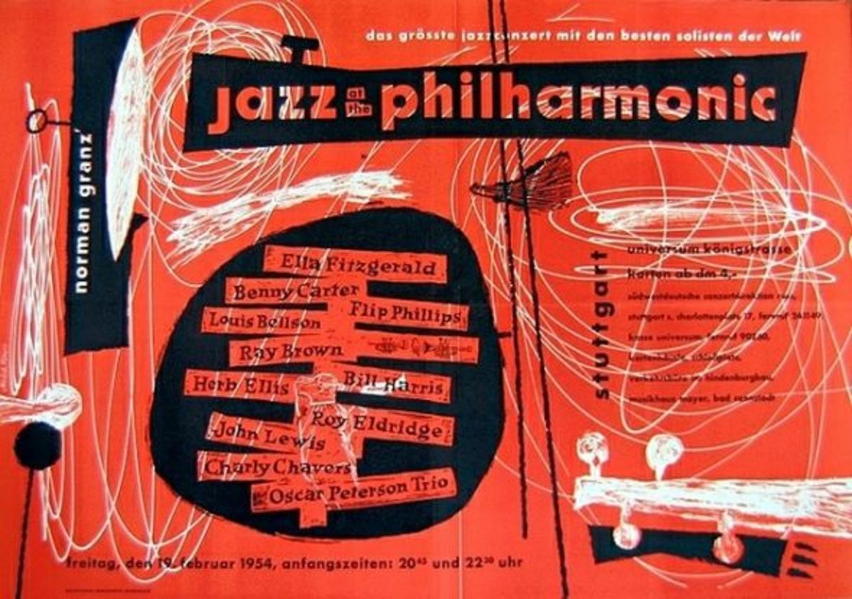 Jazz At The Philharmonic Original Vintage Concert Poster First Printing Stuttgart, Germany February 19 1954, designed by Gunther Kieser