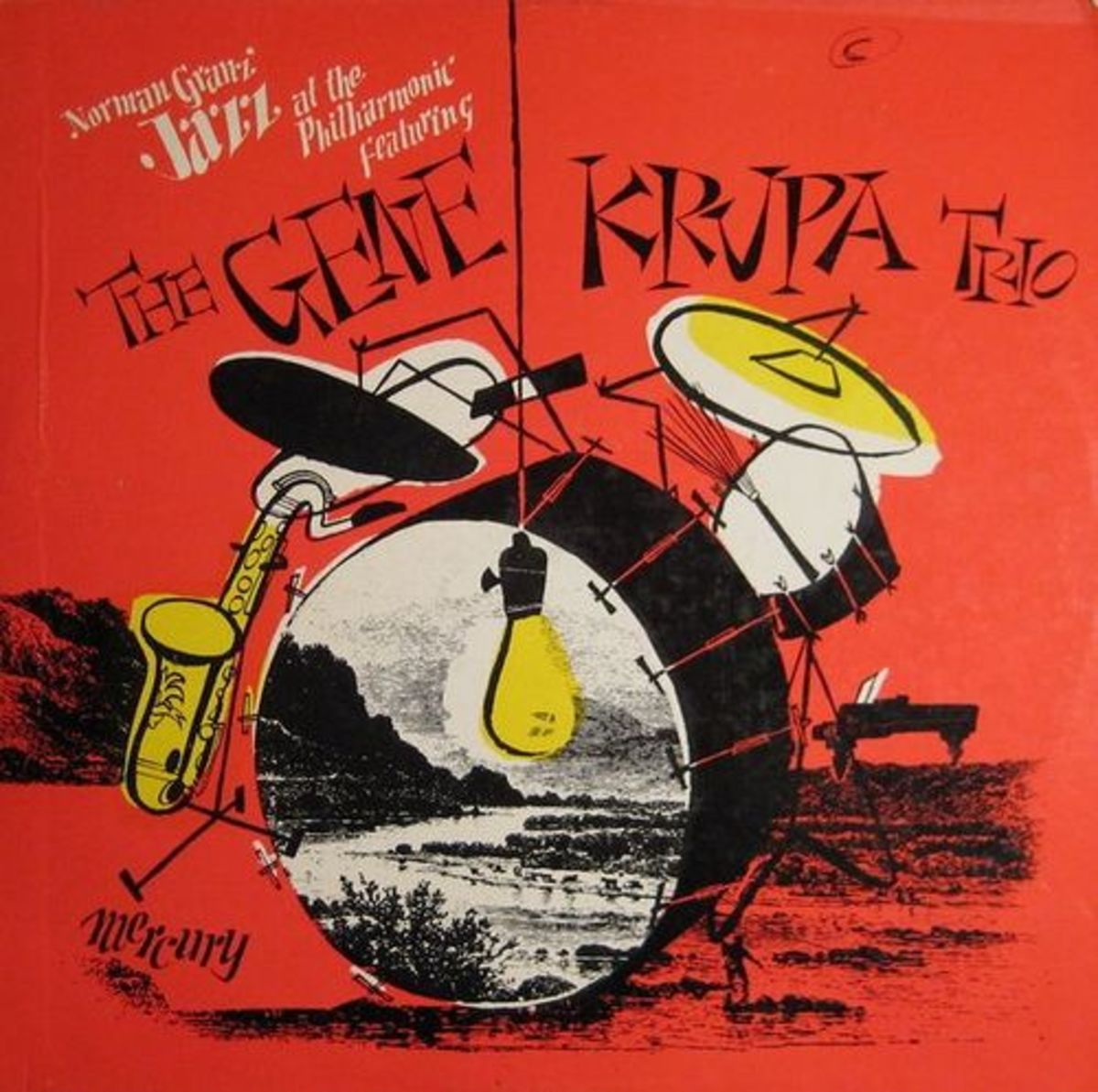 "The Gene Krupa Trio ""Jazz at the Philharmonic"" Mercury Records MG C-500 12"" LP Vinyl Record"