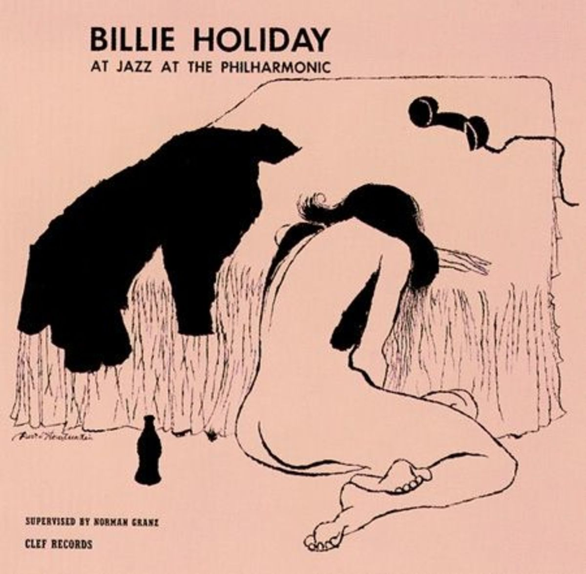 """Billie Holiday """"Jazz at the Philharmonic"""" Clef Records 169 10"""" LP Vinyl Record (1954) Album Cover Art by David Stone Martin"""