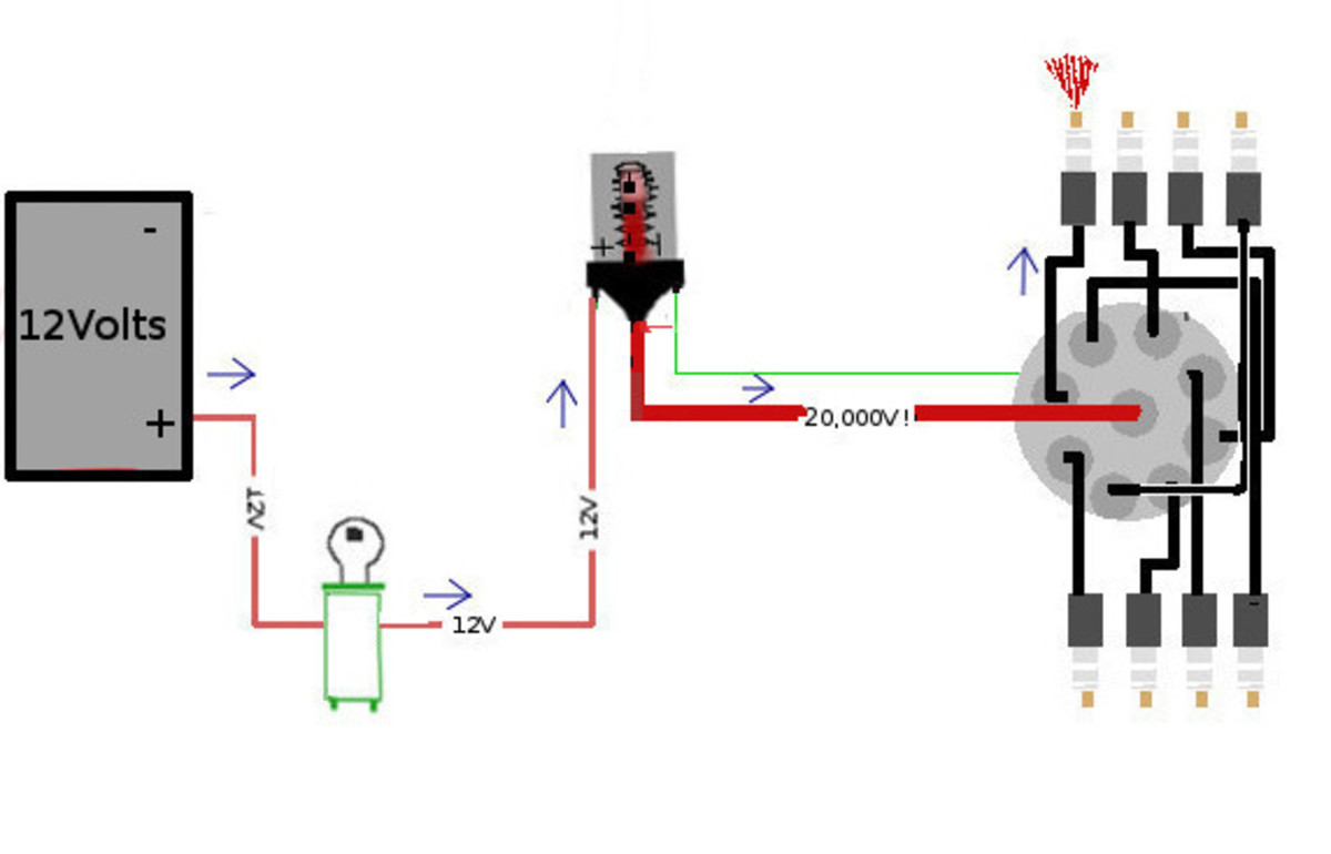 Wiring diagram of an ignition system.
