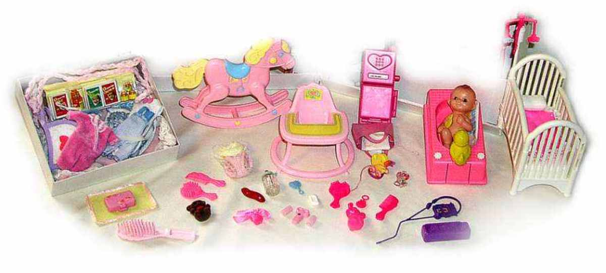Mr. Heart explained to Barbie  that his baby girl now has everything she needs - crib, food, clothes, rocking horse, high chair, toys,