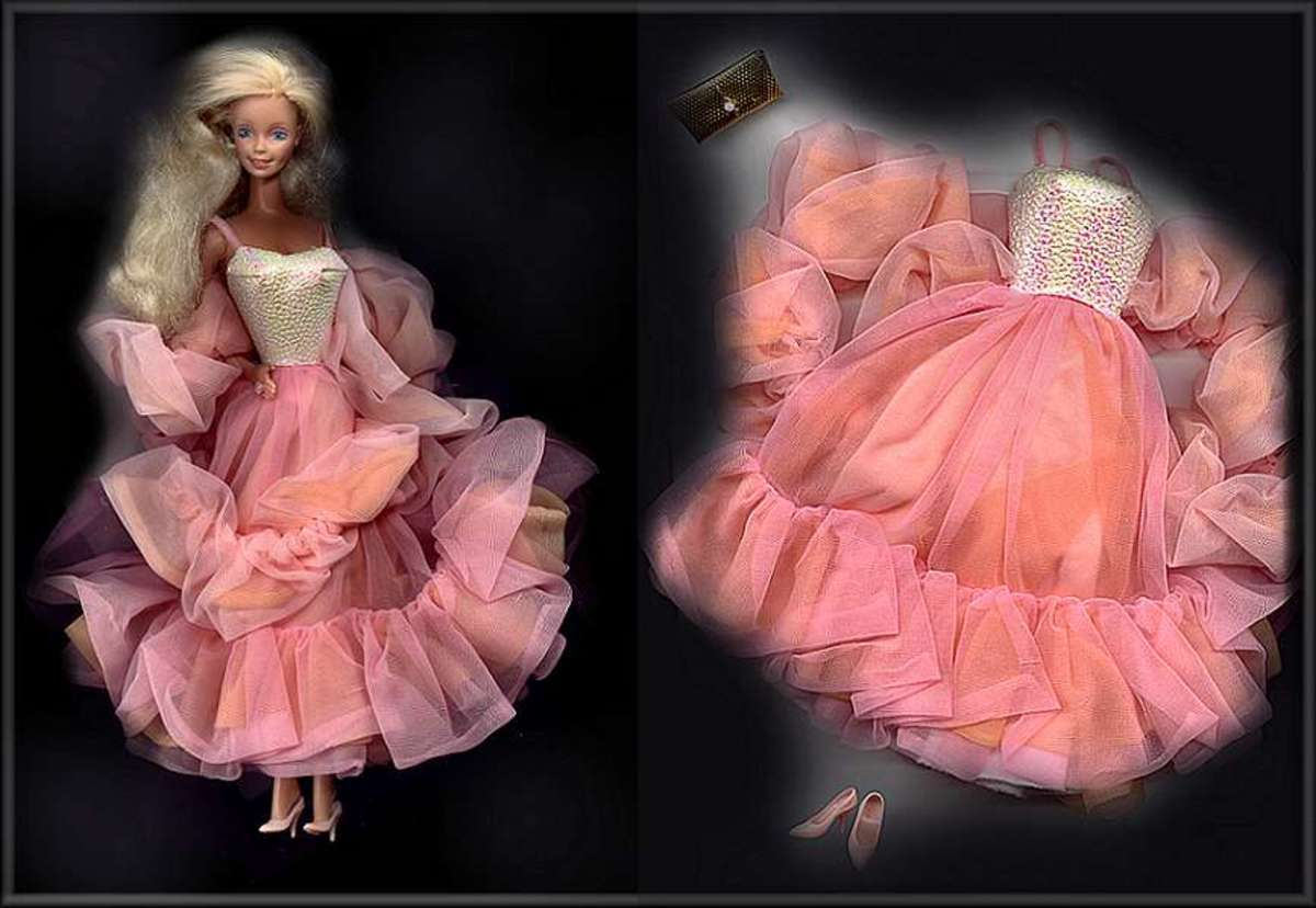 Barbie also admitted that she was the rare and desirable 1984 Peaches and Cream Barbie. She still had her original peach chiffon dress, cape, purse, and shoes to prove it.