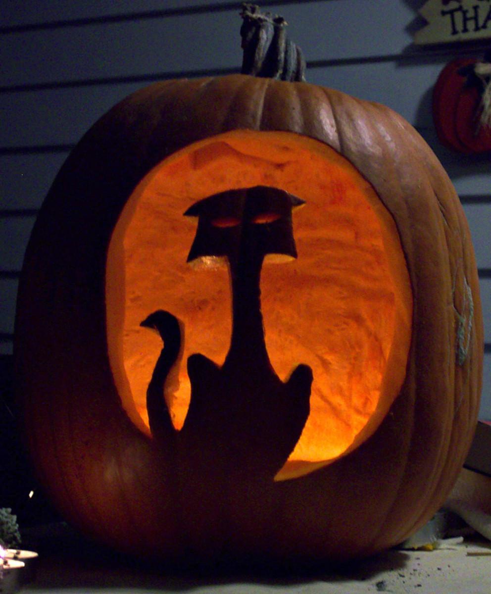 Black Cat Pattern inside Halloween Pumpkin