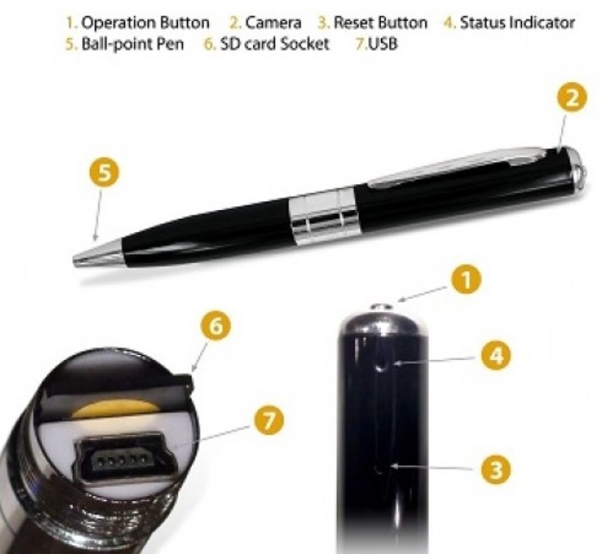 Hidden spy camera pen