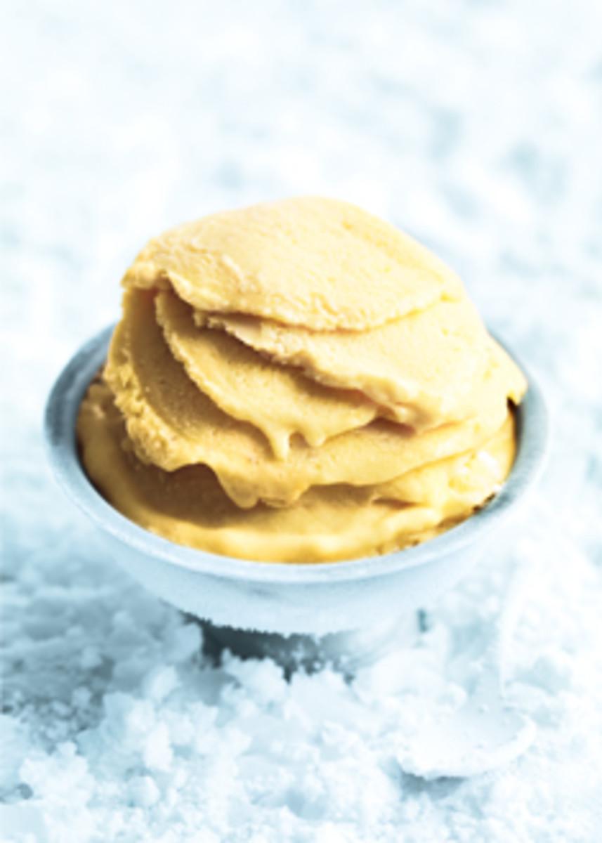 Mango Vanilla and Banana Frozen Yogurt