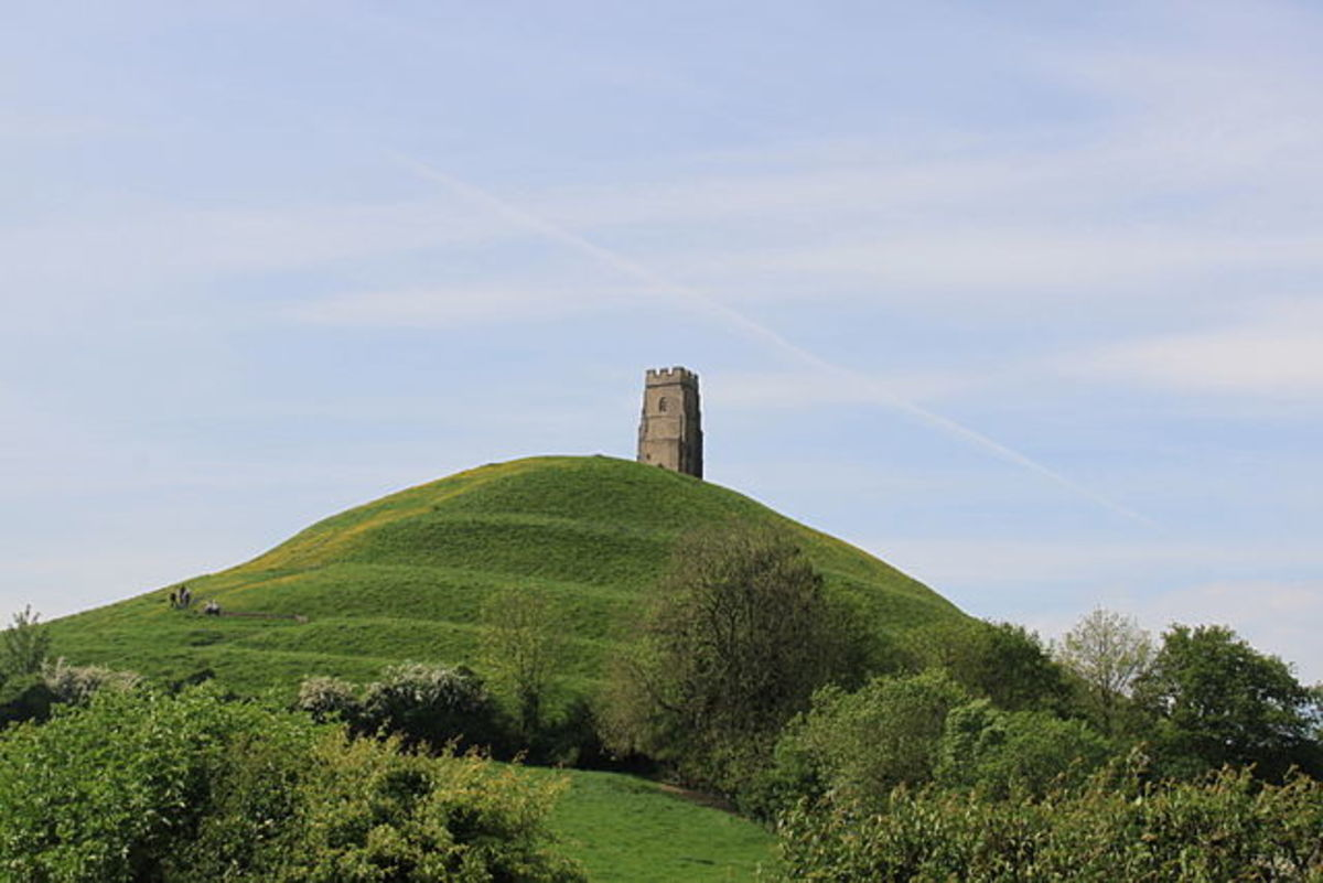 Glastonbury Tor from north east showing terraces
