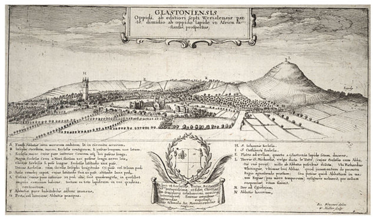 Early sketch of Glastonbury area, showing the Tor in the background. Sketch by Wenceslaus Hollar (1607 - 1677)