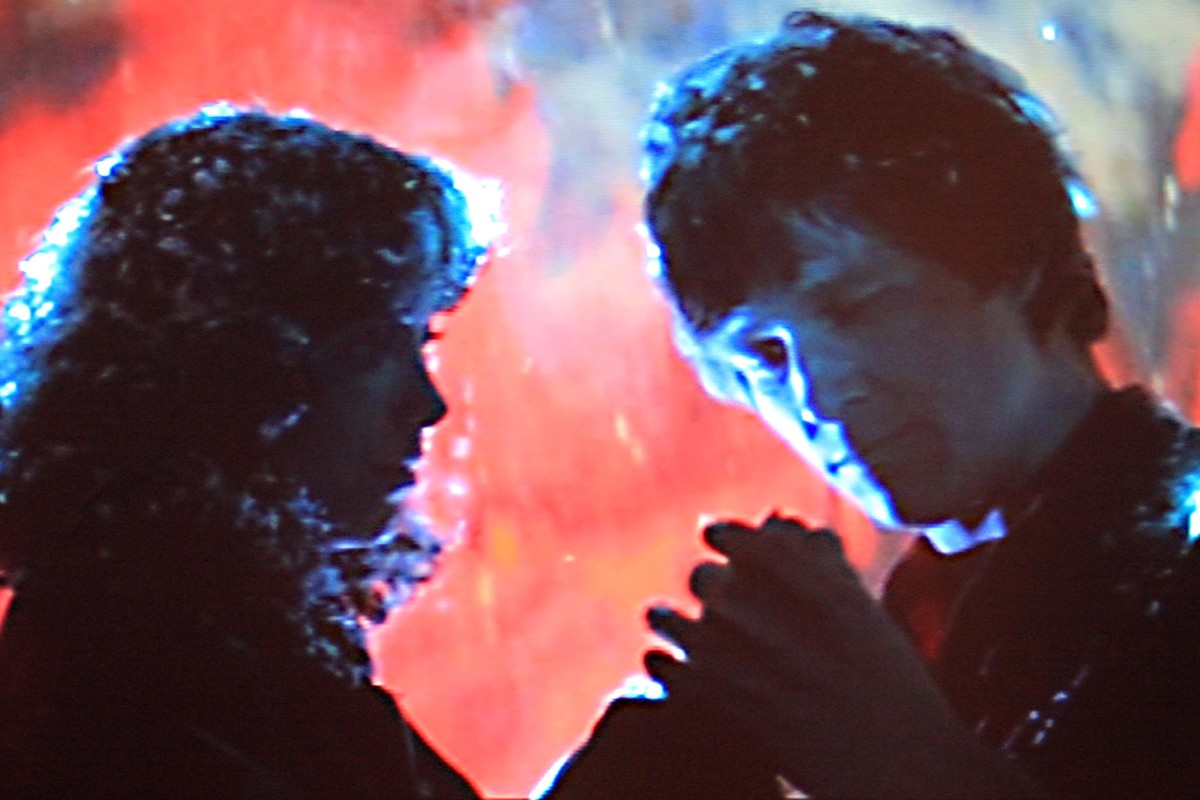 The Crater Scene - the closing sequence. The Starman and Jenny Hayden embrace as the alien space ship descends to the Arizona crater for its rendevous