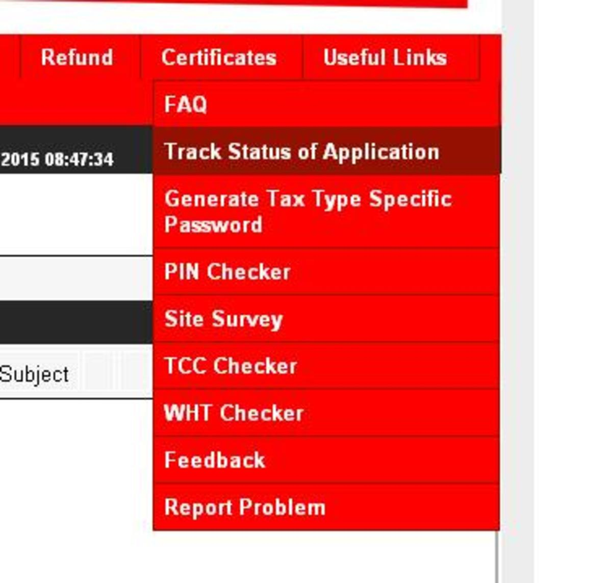 Tracking Status of TCC Application