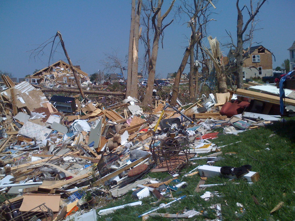 Devastating tornado damage