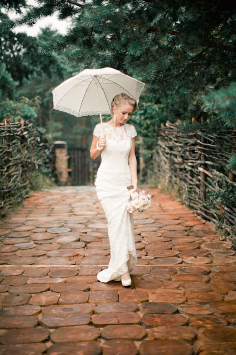 Lace umbrella matches the lace material in the bridal gown beautifully.
