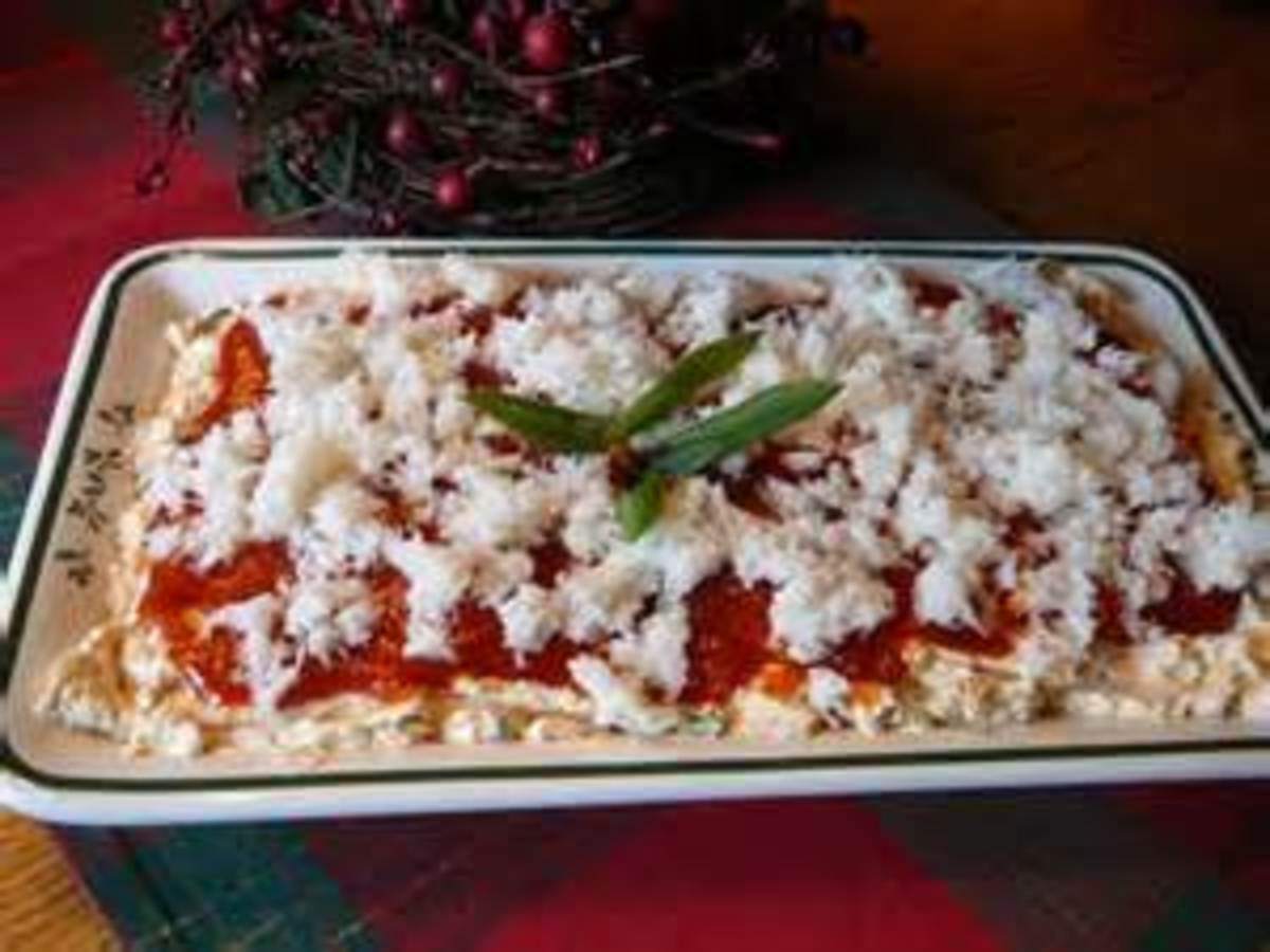 Crab meat and cream cheese appetizer tray