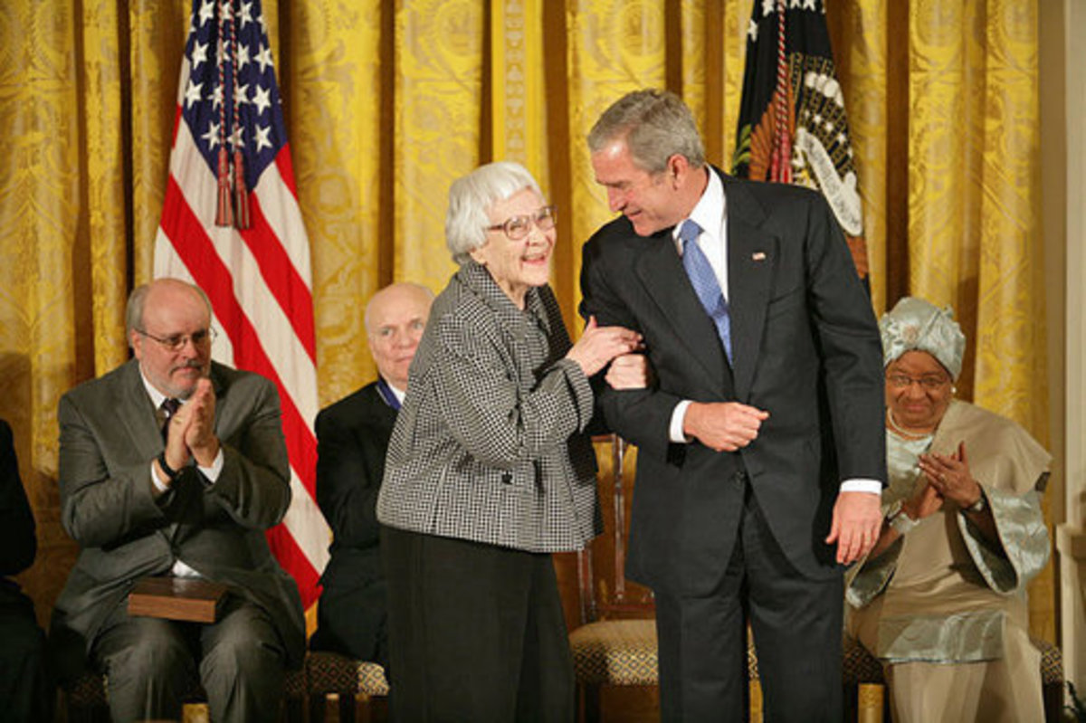 File: Harper Lee Medal.jpg Information 11-05-07 President Bush awarding the Presidential Medal of Freedom to Harper Lee.