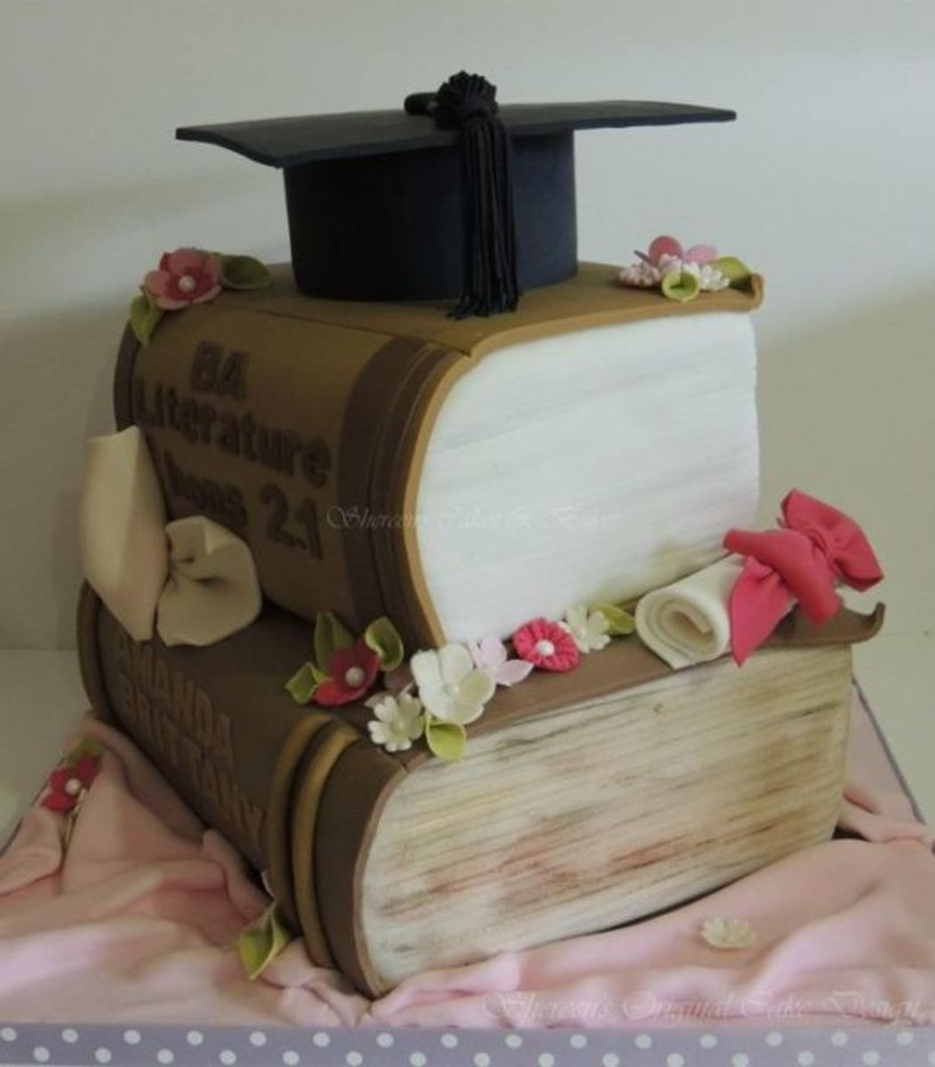 Beautiful Graduation Book Cake